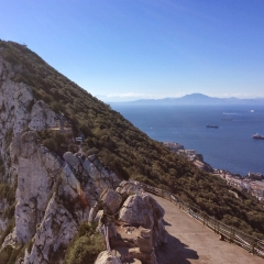 The Rock of Gibraltar and Africa in the Distance